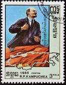 CAMBODIA - CIRCA 1985: A stamp printed in Cambodia shows Lenin's portrait