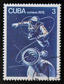 CUBA - CIRCA 1976: stamp printed in Cuba shows Russian astronaut in Cosmos circa 1976
