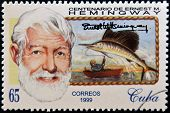 CUBA - CIRCA 1999: A stamp printed in Cuba shows Ernest Hemingway circa 1993