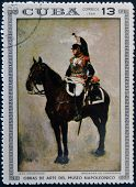 Stamp dedicated to Artworks Napoleon Museum shows Brigadier Cuirassiers by Jean Meissonier