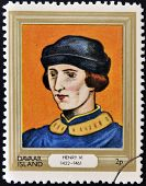 stamp printed in Davaar Island dedicated to the kings and queens of Britain shows King Henry VI
