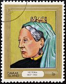 stamp printed in Davaar Island dedicated to the kings and queens of Britain shows Queen Victoria