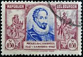 ECUADOR - CIRCA 1947: A stamp printed in Ecuador shows Miguel de Cervantes and Don Quixote