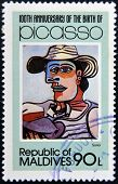 stamp printed in Malldives Islands shows the sailor by Pablo Ruiz Picasso