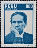 PERU - CIRCA 1986: A stamp printed in Peru shows Cesar Vallejo circa 1986