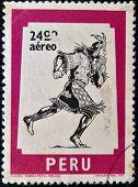 PERU - CIRCA 1977: A stamp printed in Peru shows The chasqui mail the Incas circa 1977