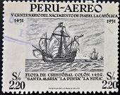 Stamp dedicated to Birth of Isabella the Catholic shows fleet of Christopher Columbus