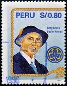 PERU - CIRCA 1994: A stamp printed in Peru shows Lady Olave Baden Powell circa 1994