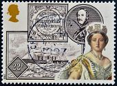 Stamp printed in Great Britain dedicated to 150th Anniversary of Queen Victoria's