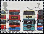 stamp shows Daimler Fleetline, Metrobus, Leyland Olympian and Dennis Trident