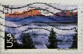 Stamp printed in the USA shows Grand Teton National Park Wyoming