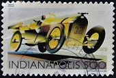 A stamp printed in USA dedicated to Indianapolis 100 years of racing
