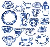 Fine China - Set of hand drawn porcelain teacups and saucers, teapots, plates, creamers etc, in cobalt blue Toile de Jouy pattern