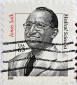 UNITED STATES OF AMERICA - CIRCA 2006: A stamp printed in USA shows Jonas Salk medical scientist