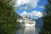 pic of fjord  - Mountainous landscape in Norway with a cruise liner in the fjord - JPG