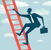 Abstract Businessman climbs up the Corporate Ladder.