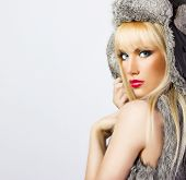 Beautiful Blonde Girl In Fur Hat