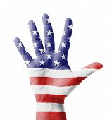 Open Hand Raised, Multi Purpose Concept, Usa Flag Painted - isolated on white background