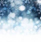 foto of xmas star  - Winter Holiday Snow Background - JPG