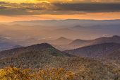 Blue Ridge Mountains at dusk in north Georgia, USA.