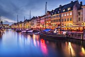 stock photo of copenhagen  - Nyhavn Canal in Copenhagen - JPG