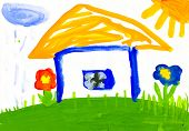child's drawing. house in the village