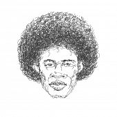 Afroamerican man. Hand drawn. Vector eps 8
