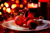 stock photo of knife  - Christmas And New Year Holiday Table Setting - JPG