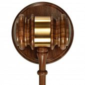 A wooden judge gavel and soundboard isolated on white background top view