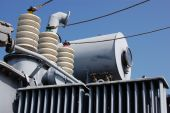 foto of power lines  - High voltage converter at a power plant - JPG