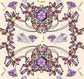 Seamless Pastel Jewelery Necklace Kaleidoscope Pattern. Background With Colorful Gemstones And Diamo