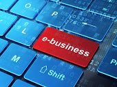 Business concept: E-business on computer keyboard background