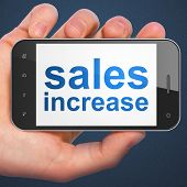 Advertising concept: Sales Increase on smartphone