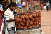 Coconut seller in the market