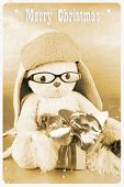 Retro Postcard - Soft Toy With Glasses, Hat And Gift