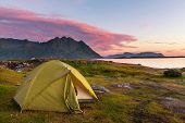 camping in Lofoten island,Norway