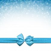 Winter blue background with crystallic snowflakes with ribbon and gift bow. Christmas decoration. Vector.