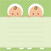 Baby twins announcement card. Vector illustration.
