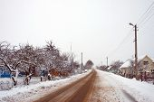 Rural roads in the village in winter
