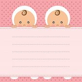 stock photo of twin baby girls  - Baby girl twins announcement card - JPG