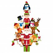 Vector Christmas Tree with Santa Claus, Elf and Animals