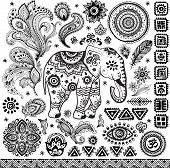 stock photo of indian elephant  - Tribal vintage ethnic pattern set illustration for your business - JPG
