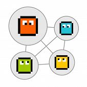 Pixel Characters In Social Networking Bubbles