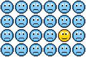 8-bit Pixel Art Sad Faces And One Happy Face