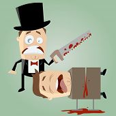 unskilled magician with a saw