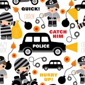 Seamless explosives and crook police car illustration background pattern for kids in vector