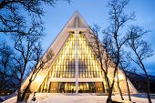 stock photo of tromso  - Arctic Cathedral Church in Tromso Norway at dusk twilight - JPG