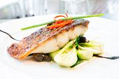 stock photo of pangasius  - grilled barramundi steak with sweet sauce - JPG