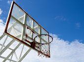 Dark basketball hoop and net