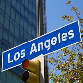 LA Los Angeles sign in redlight photo mount on downtown image